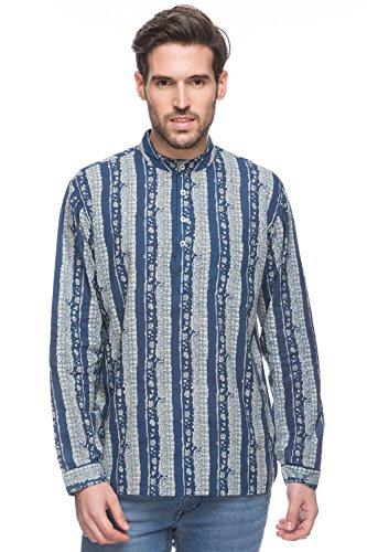 Shatranj Mens Mandarin Collar Shirt-Length Untucked Block Print Kurta Tunic