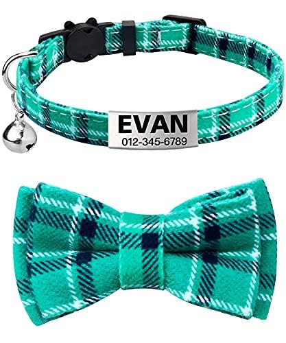 TagME Collar de Gato Personalizado, con Placa de Identificación Personalizable y Hebilla de Liberación Rápida Corbata de Moño Collar de Gato, 1 Paquete Turquesa