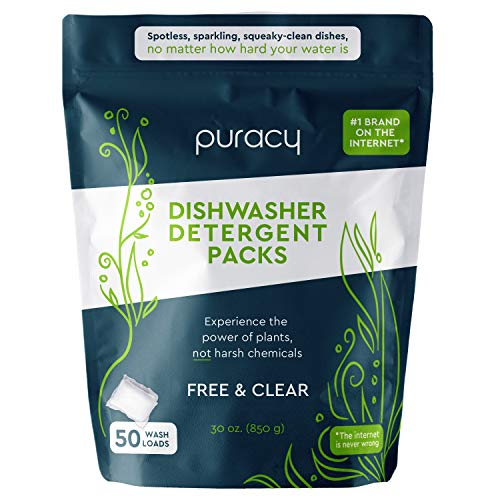 Puracy Platinum Dishwasher Detergent Pods, 50 Count, Natural Enzyme Powder Tablets, Spot & Residue-Free Dish Packs, Free & Clear