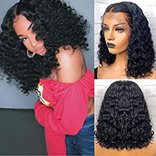 Andrai Hair Short Bob Curly Lace Front Wigs Glueless Natural Wave Synthetic Heat Resistant Fiber Hair Wig With Baby Hair For Black Women 14 Inch