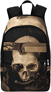 GIRLOS Still Life Human Skull Knife Soldier Casual Daypack Travel Bag College School Backpack for Mens and Women