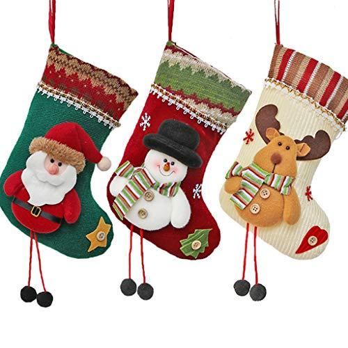 Zywtrade Natale Caramelle Calza Gancio con Babbo Natale Pupazzo di Neve Calze di Natale Sacchetti Regalo Appeso Forniture di Ornamento Giocattoli Caramelle Regalo Borse Titolari (3 Pack)
