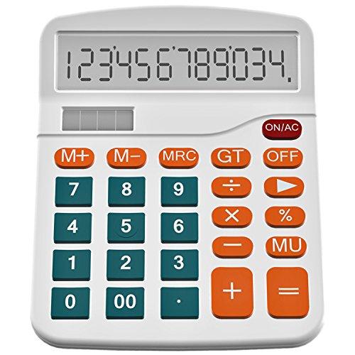 Helect Taschenrechner Standard Tischrechner 12-stelliger Dual-Power (Solar und Batterie), Weiß