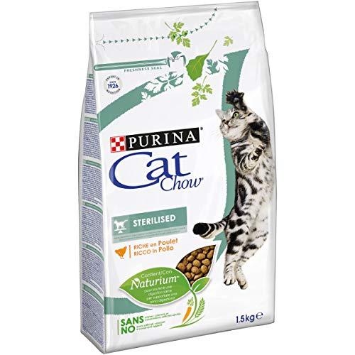 Purina Cat Chow Sterilized Gatto Crocchette Ricco in Pollo, 6 Sacchi da 1.5 kg