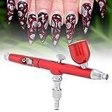 Aerógrafo de pintura artística, pistola de aerógrafo de alimentación por gravedad de doble acción, kit de herramientas de uñas de tatuaje de pintura artística en aerosol de 0,3 mm (rojo)