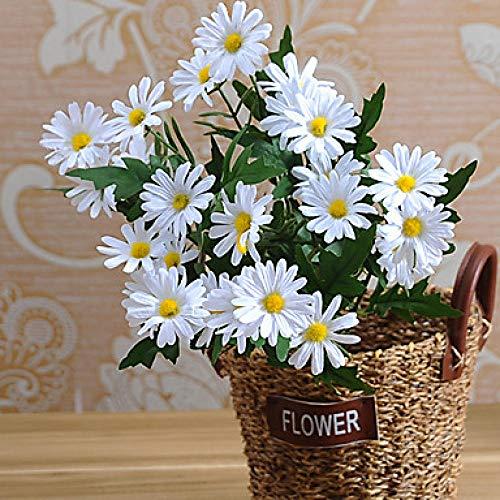 SLJHUA Flores De Seda Ramo De Flores Artificiales Decorativas Flores Artificiales La Novia La Flor Familia Planta Fiesta 1 Rama Estilo Pastoral Margaritas Mesa Flor Blanca