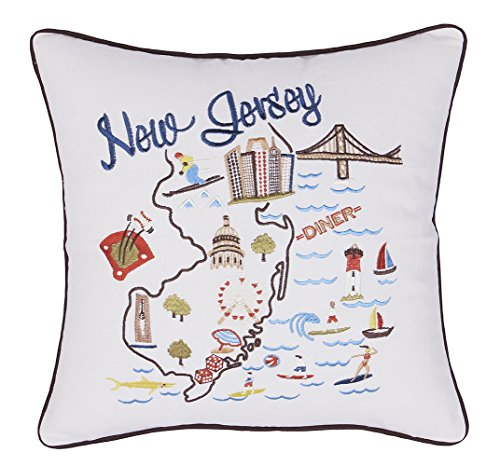 EURASIA DECOR New Jersey State Map Embroidered Decorative Accent Pillow Cover - Birthday Decor, Graduation, New Home Gift