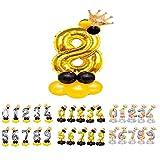 Globos Números para Cumpleaños de Foil Metálico, Globos de Números Gigante Dorado Plateado y Arcoiris para Fiestas de Cumpleaños y Aniversarios, Decoración en Celebraciones (Oro 8)