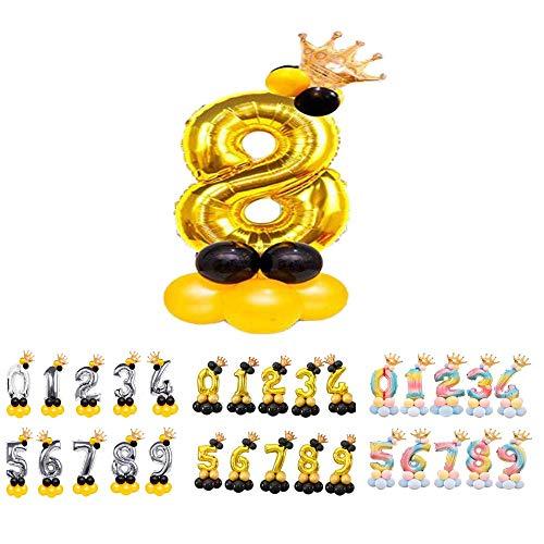 Globos Números para Cumpleaños de Foil Metálico, Globo Número Gigante Dorado Plateado y Arcoiris para Fiestas de Cumpleaños y Aniversarios, Decoración en Celebraciones (Oro 8)
