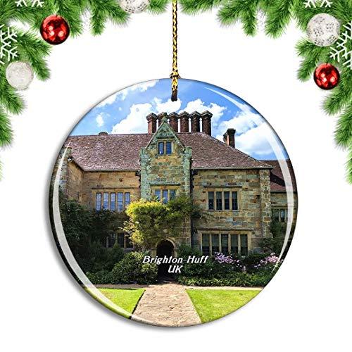 Weekino Royaume-Uni Angleterre Brighton-Huff Kipling Gardens Décoration de noël Arbre de Noël Ornement Suspendu Pendentif Ville Voyage Collection Souvenirs Porcelaine 2.85 Pouce