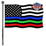Thin Red Blue Green Line US Flag 3x5- Vivid Colors Blue Stripe Police American Flags Banners Outdoor- Thin Red Line Firemen flag Lightweight Polyester with 2 Brass Grommets