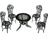 alles-meine.de GmbH Set :  Gartenmöbel  - 4 Stühle und 1 Tisch Metall - Maßstab 1:12 - Möbel Set Nostalgie grün Miniatur - Puppenstube / Puppenhaus - Puppenstuben Zubehör - Gar..