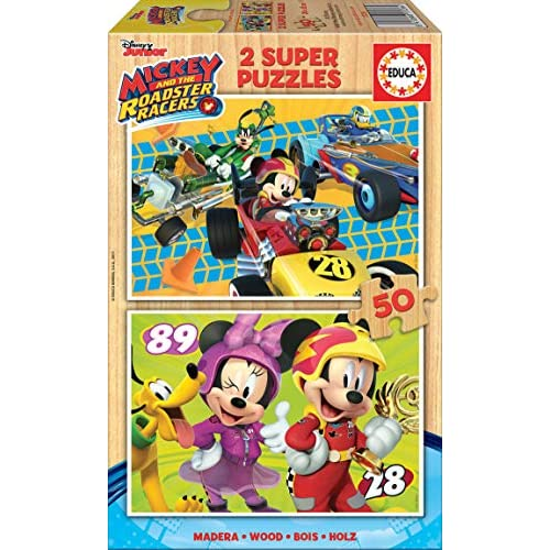 Educa Borras-2x50 And The Roadster Racers Mickey Mouse Puzzle, Colore Vario, 17236