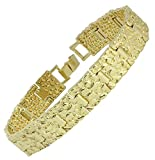 Classic Nugget Design 14kt Gold Tone 7mm 14mm 24mm 8 inch Bracelet Bling (14)