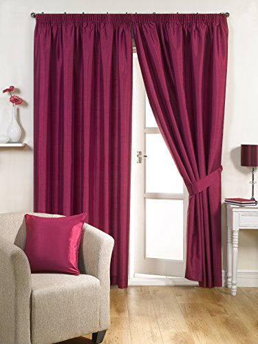 Ravello Faux Silk Ready Made Fully Lined Tape Curtains Fusia - Colour: Fusia