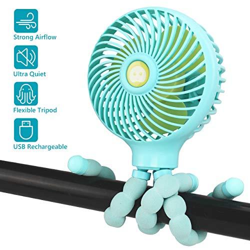 Gifort Mini Ventilatore Portatile, Ventilatore Silenzioso USB, Ventilatore Passeggino con Treppiede Flessibile, per Scrivania, Auto, Casa Ufficio,Viaggiare, Alimentata a Batteria o USB
