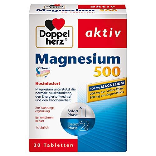 Doppelherz Magnesium 500 2-Phasen – Magnesium als Beitrag für die normale Muskelfunktion und den Energiestoffwechsel – 30 Tabletten