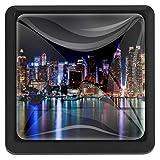 BennigiryNew York Night Panorama Cityscape Quadratische Kristallglas-Türknauf Ziehgriffe ergonomisch Schubladengriffe 3 Stück