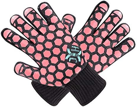 J H Heat Resistant Oven Mitts EN407 Certified 932 F 2 Layers Silicone Coating Black Shell with product image