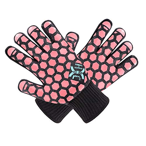JH Heat Resistant Oven Mitts: EN407 Certified 932 °F, 2 Layers Silicone Coating, Black Shell with Coral Coating, BBQ & Oven Gloves For Cooking, Kitchen, Fireplace, Grilling, 1 Pair, Women Fits All