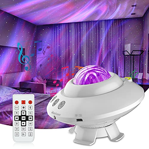 Star Projector Aurora Night Light UFO Shaped Galaxy Projector with Built-in Bluetooth Music Speaker and Remote Controller for Party, Gaming Room, Kids' Bedroom