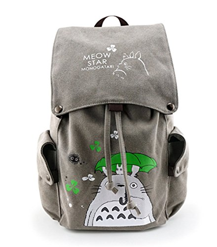 Double Villages Anime My Neighbor Totoro Cosplay Daypack Bookbag College Tasche Rucksack Schultasche (Grau 1)