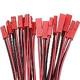 Boladge 10 Pares Adaptador Conector Hembra Macho JST 2Pin con Cable de Silicona 10CM 22AWG