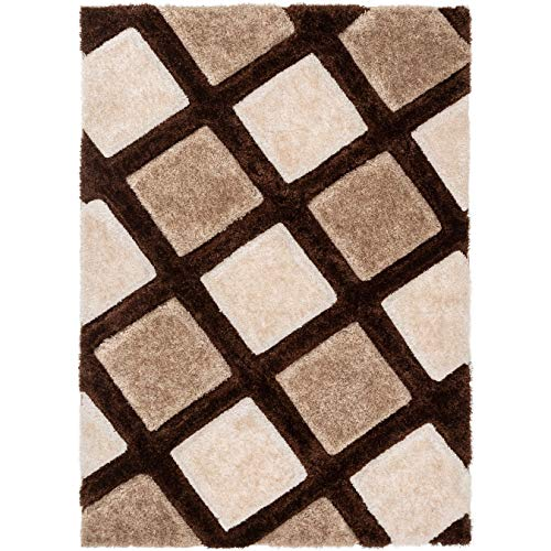 Well Woven Parker Brown Geometric Boxes Thick Soft Plush 3D Textured Shag Area Rug 5x7 (5'3
