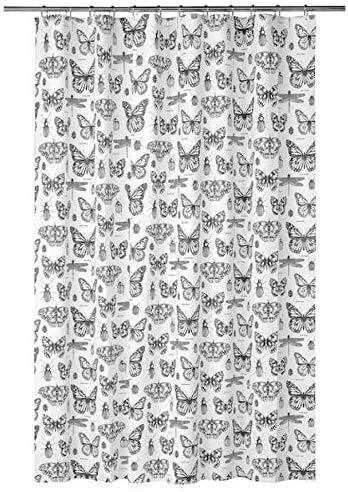Ikea Sommarmalva Shower Curtain White Dark Gray 71x71 204.480.75