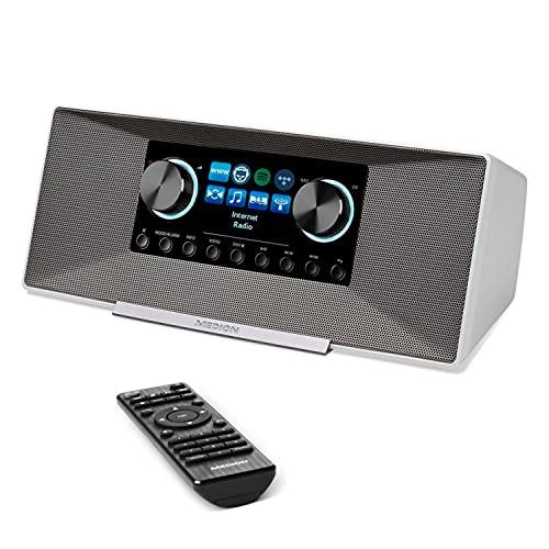 MEDION P85289 Internetradio mit DAB+ (WLAN, UKW, Spotify Connect, Amazon Music, DLNA, USB, Kopfhörer-Anschluss, AUX, LAN, Sleep Timer) weiß