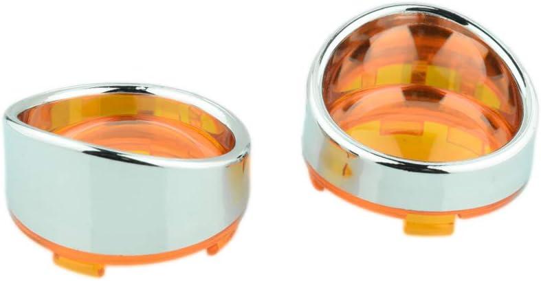 Chrome-Red Chrome Visor-Style Turn Signal Bezels with Red Lens for Harley Davidson