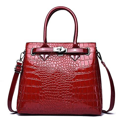 Bolsos de hombro para mujer, bolsos de mano superior, para mujer, de piel sintética, para viajes, compras, fecha, trabajo, regalo para mamá, color Rojo, talla Talla Unica