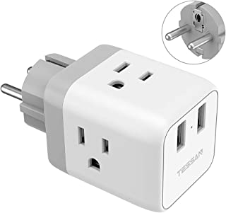 Germany France Power Adapter Type E/F, TESSAN European Travel Plug Adapter with 2 USB, US to Europe Schuko Plug Adapter for Iceland Spain Russia Poland EU