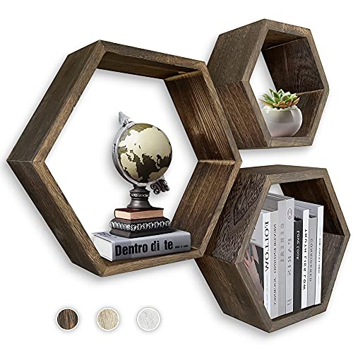MRGL Hexagon Floating Shelves Set of 3, Honeycomb Shelves, Wall Mounted Geometric Hexagon Shelves, Natural Wood, Includes All Hanging Hardware, Rustic Brown