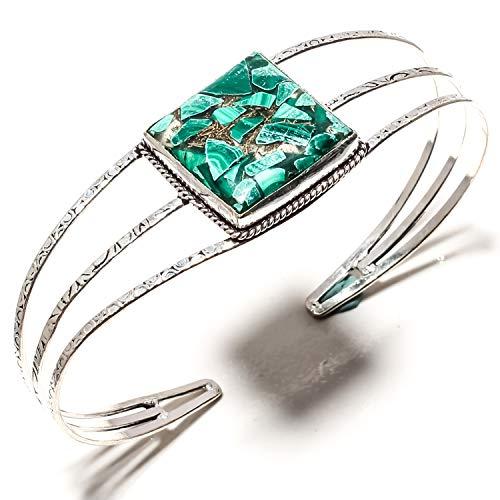 jewels paradise Hermosa pulsera de cobre malaquita hecha a mano Kada chapado en plata de ley 925 – Pulsera de tamaño ajustable – (SF-1570)
