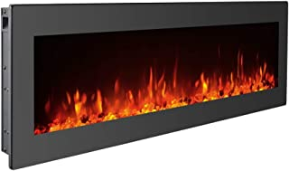 GMHome 50 Inches Electric Fireplace Wall Mounted Heater Freestanding Fireplace Crystal Stone Flame 9 Changeable Color Fireplace, Remote Control, 1500W, Black