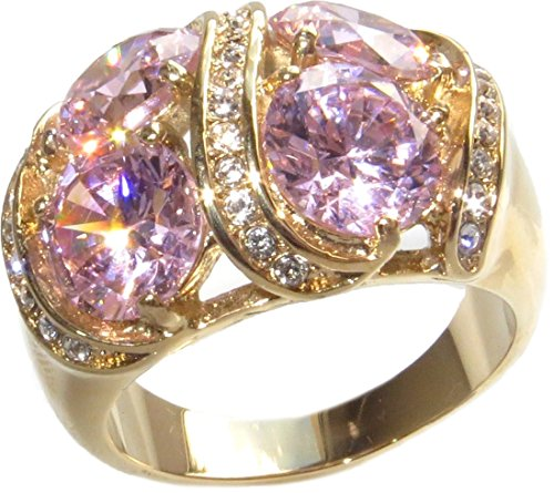 Ah! Jewellery SUMMER SALE 15mm Wide Perfectly Pink Round Lab Diamond Ring 4x 7.5mm Dazzling Centre Stones Total Weight of 11.4gr Excellent Quality Designer Ring. Gold Over Stainless Steel Stamped 316