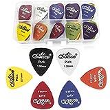 Gresunny 50 piezas púas de guitarra guitarra plectrums pick plumillas de guitarra colorida con caja de almacenaje para guitarra eléctrica acústica bajo ukelele 0.58/0.71/0.81/0.96/1.20/1.50mm
