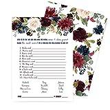 Indigo-Paare mit Blumenmuster, passendes Spiel für Brautparty, Verlobung, Jahrestag, Rehearsal, Abendessen, 25 Stück, lustiges Raten, Party-Aktivität