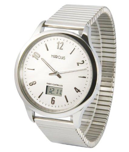 Elegante MARQUIS Herren Funkuhr (Junghans-Uhrwerk) Gehäuse und Armband aus Edelstahl 964.6121