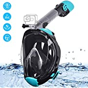 Snorkel Mask, Gocheer Full Face Anti-fog Snorkeling Mask with Circulating Airflow & 180°Clear Vision, Anti-Leak Diving Mask with Adjustable Head Straps, Camera Mount for Adults 2019 Newest Snorkel Set