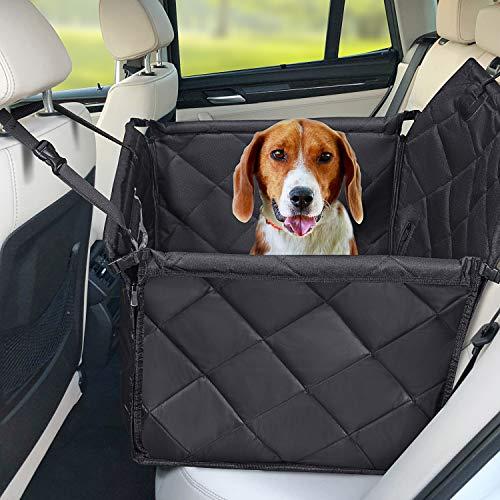 Hundesitz Auto - Hochwertiger Hunde Autositz Rückbank groß für kleine bis mittlere hunde- Autositzbezug mit Verstärkte Wände, 3 Gurte und Sicherheitsgurt, Wasserdicht & Reißfest- Schutz für Autositze