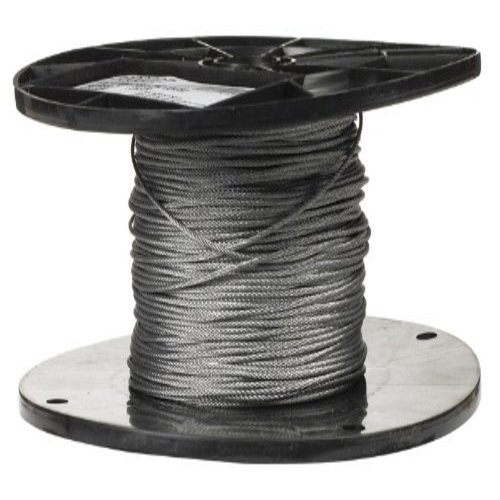 """Galvanized Steel Wire Rope on Reel, 7x7 Strand Core, 1/16"""" Bare OD, 500' Length, 96 lbs Breaking Strength"""