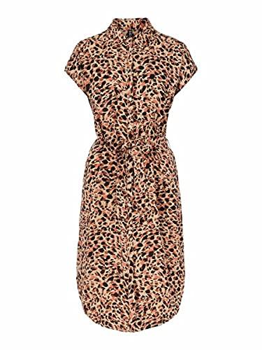 PIECES Damen PCNYA SS Shirt Dress BF BC Kleid, Apricot Cream/AOP:Leo, M
