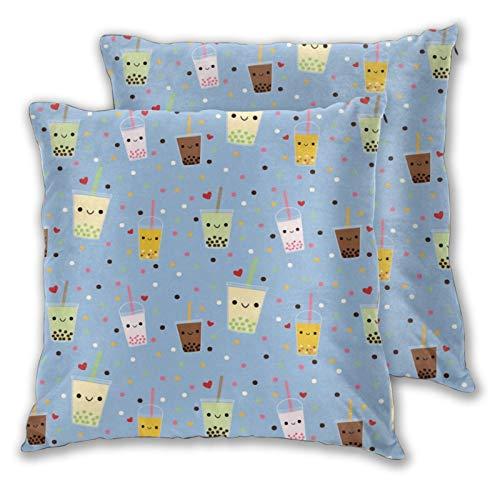 Jack16 Happy Boba Bubble Tea Federa per cuscino da 45,7 x 45,7 cm, per decorazioni natalizie, set di 2 federe decorative per cuscini quadrati per divano o decorazione della casa