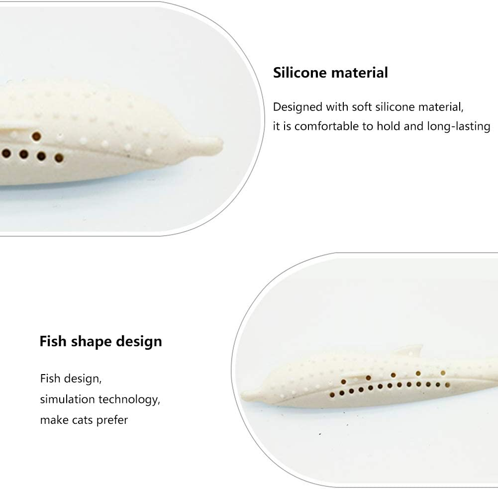 ALLhave Catnip Toys Simulation Fish Shape, Fish Flop Cat Toy, Pet Cat Fish Shape Toothbrush with Catnip Doll Interactive Pets Pillow Chew Supplies for Cat pink and white