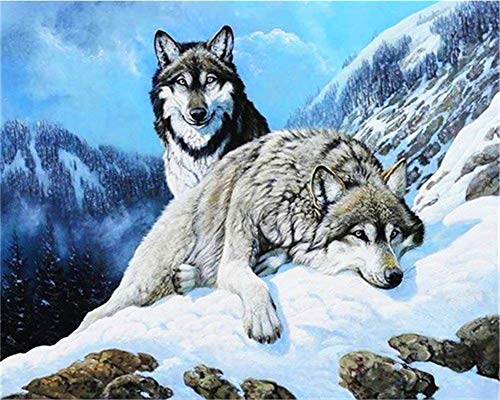 DIY 5D Diamond Painting by Number Kit for Adult Diamond Art Cross Stitch Kits Resin Crystal Rhinestone Handmade Embroidery Set Mosaic for Home Wall Decor Y1 Wolf in The Snow Round Drill,50x70cm