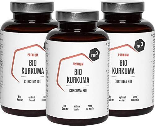 nu3 Curcuma Biologica 600 Capsule con Curcumina e Piperina - Integratore Curcuma 100% Naturale con Estratto di Pepe Nero - Prodotto e Testato in Germania