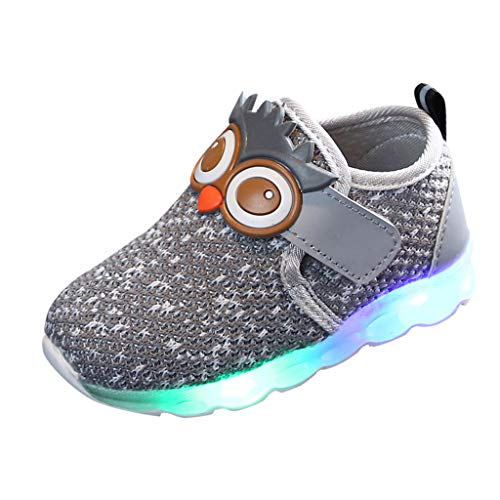 Baby Kids LED Slip On Sneakers Air Mesh Light Up Flashing Sports Shoes Girls Boys Soft Knit Cartoon Owl Safety Walking Shoes (Gray, 7)