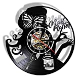 XYLLYT Manicure Master Beauty Salon Reloj de Pared está Hecho de Discos de Vinilo Vintage. Nail Art Manicure Studio Business Logo Manicure Technician Gift
